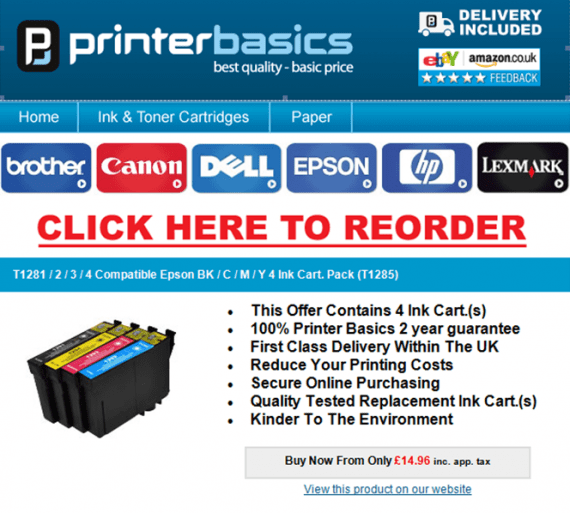 Printer Basics encourage reorders with email reminders