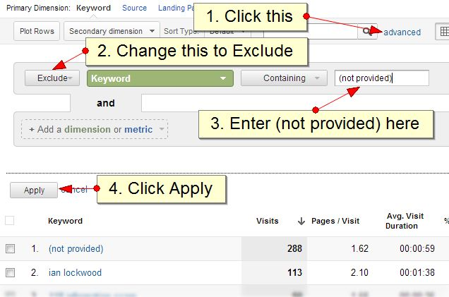 How to exclude (not provided) traffic in Google Analytics