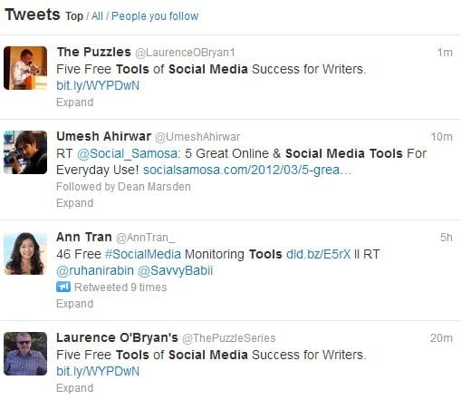 Twitter search results for social tools
