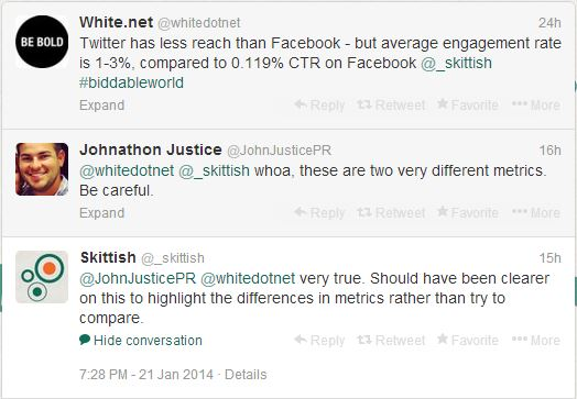 can you compare facebook and twitter metrics